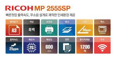 흑백복사기렌탈 RICOH MP 2555 SP
